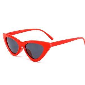 Accessories - Retro Slim Red Cat Eye Sunglasses